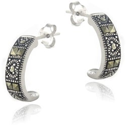 Glitzy Rocks Sterling Silver Marcasite Half-Hoop Earrings