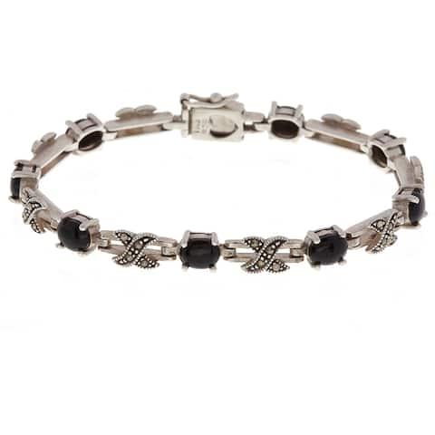 Glitzy Rocks Sterling Silver Marcasite X and O Onyx Bracelet