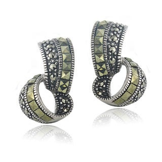 Glitzy Rocks Sterling Silver Marcasite Double Loop Earrings