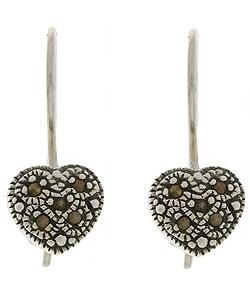 Glitzy Rocks Sterling Silver Marcasite Heart Earrings