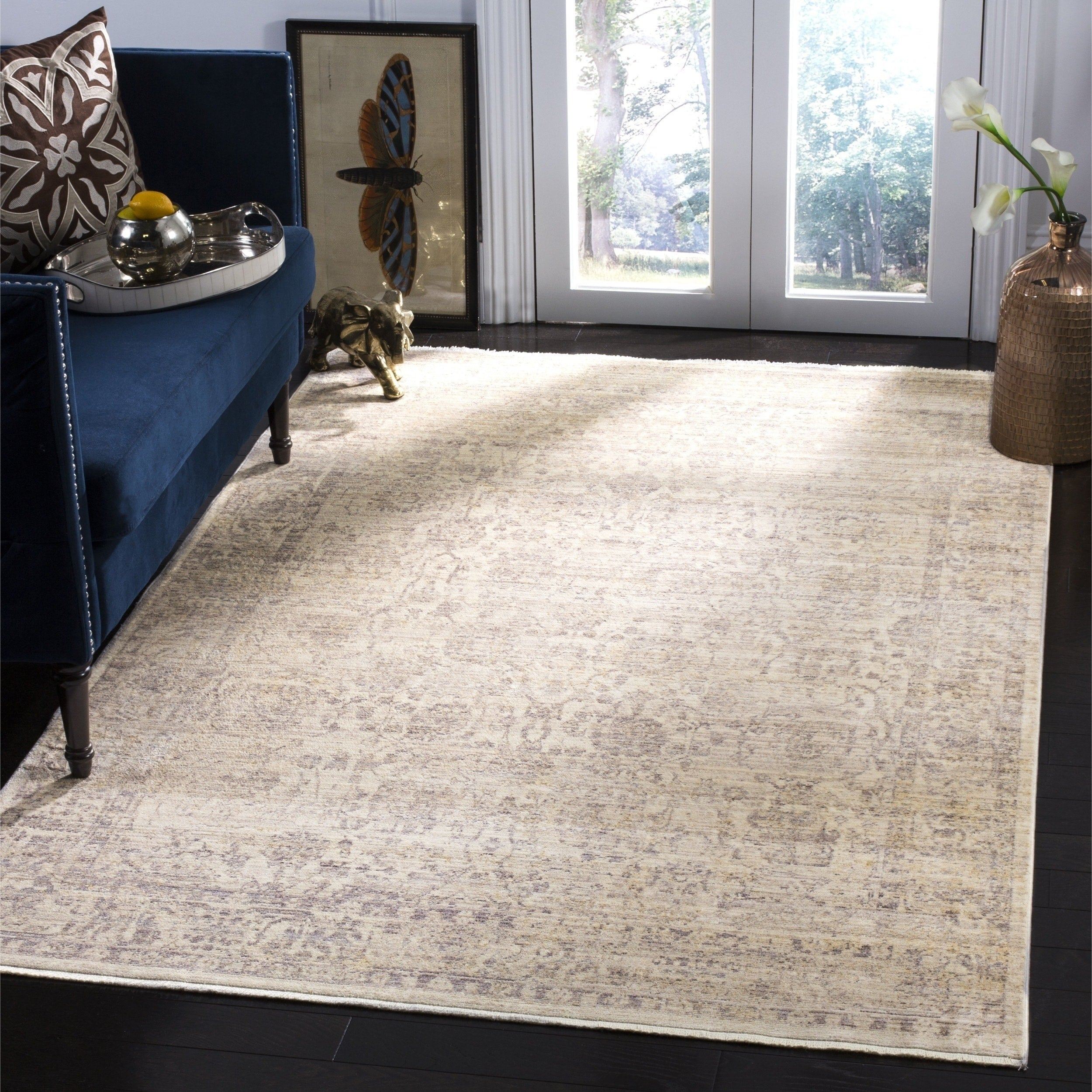 Illusion Cream Brown Viscose Area Rug