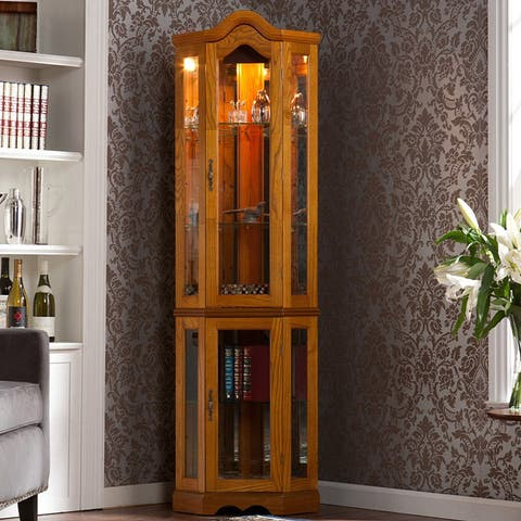 Gracewood Hollow Sebbar Golden Oak Lighted Display Cabinet