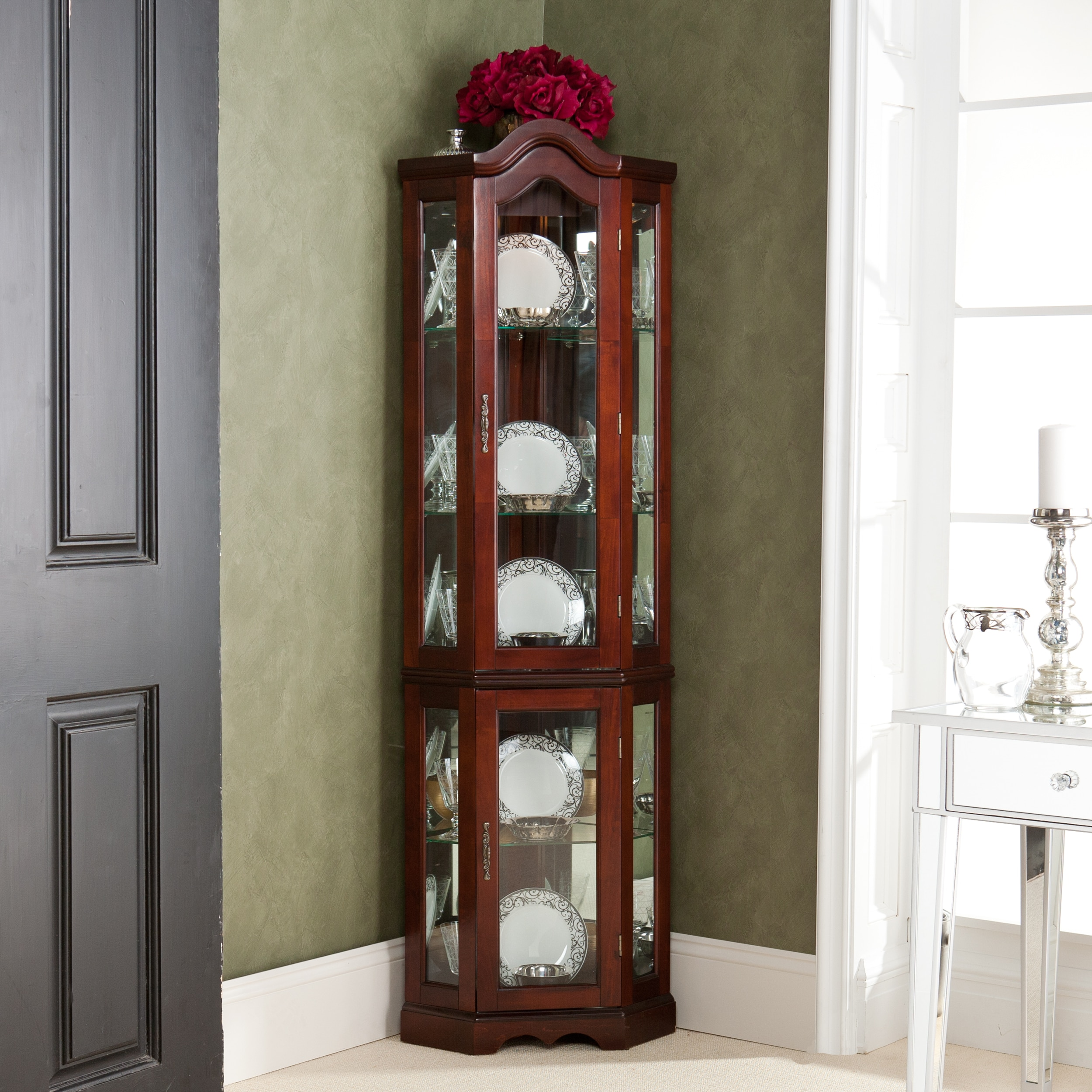 Mccoy Mahogany Lighted Display Corner Curio Cabinet On Sale Overstock 2105608