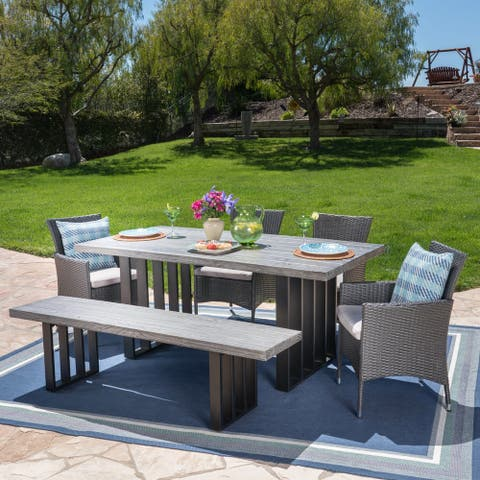 Brenner Outdoor Light-Weight ConcreteDining Set with Cushions by Christopher Knight Home