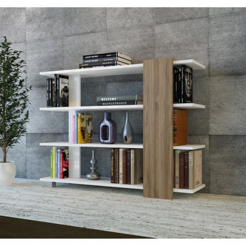 """Decorotika Vermont 35"""" Tall Accent Bookcase with 4 Tier Open Shelves - 35.1'' H x 46.8'' W x 11.7'' D"""