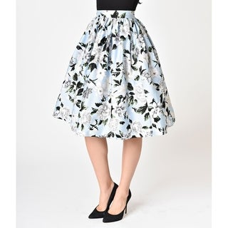 Unique Vintage Light Blue & White Floral High Waist Swing Skirt