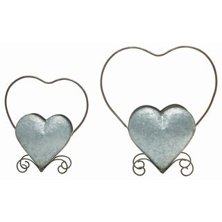 Transpac Metal  Silver Spring Nested Heart Planters Set of 2