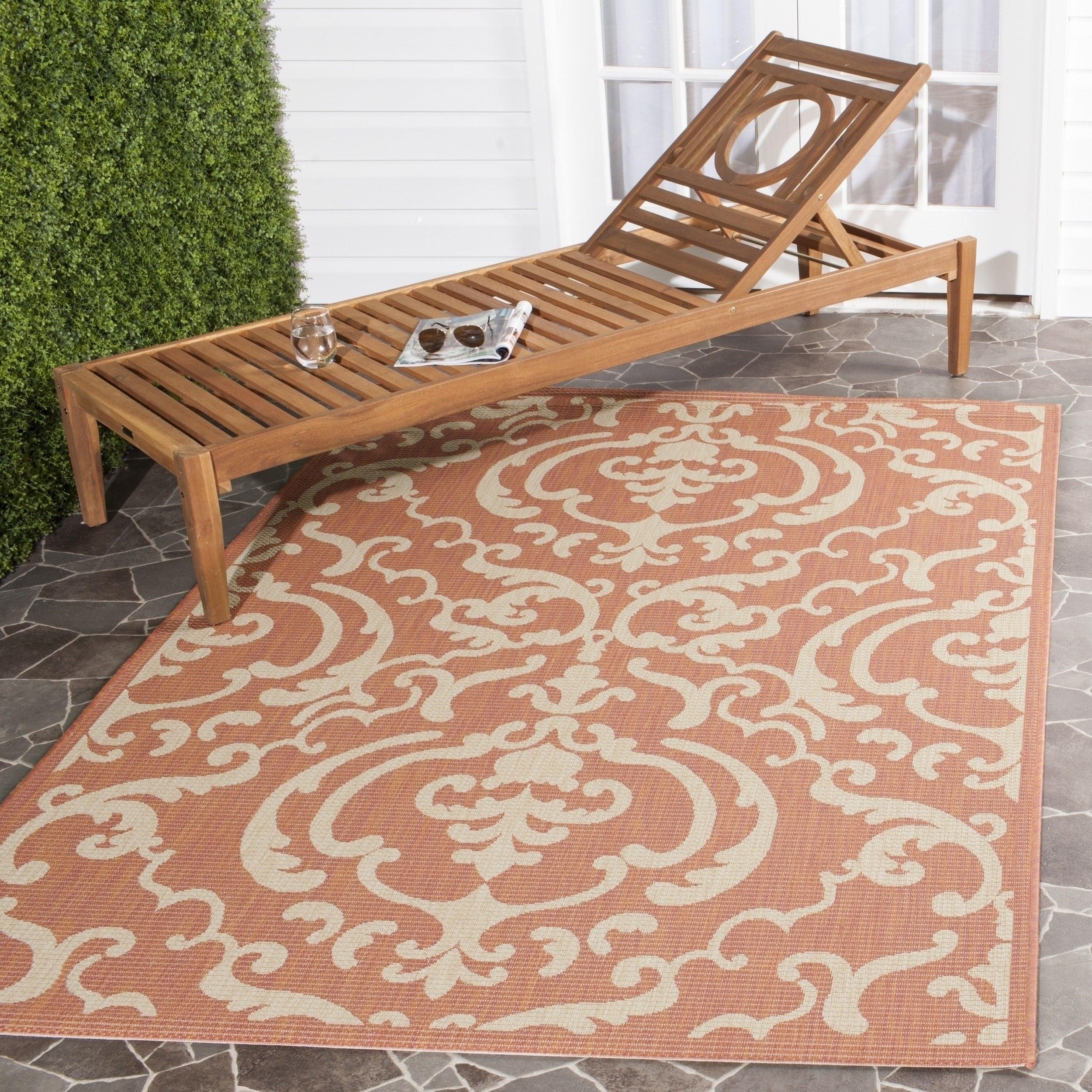Safavieh Bimini Damask Terracotta Natural Indoor Outdoor Rug 7 10 X 11