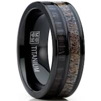 Oliveti Men's Titanium Ring Wedding Band with Real Deer Antler, Koa Wood Inlay, Outdoor Hunting