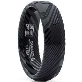 Oliveti Men's REAL Forged Damascus Steel Ring Black Comfort Fit Band 6mm