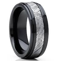 Oliveti Black Zirconium and Real Muonionalusta Meteorite Inlay Wedding Band Ring 8mm Comfort Fit