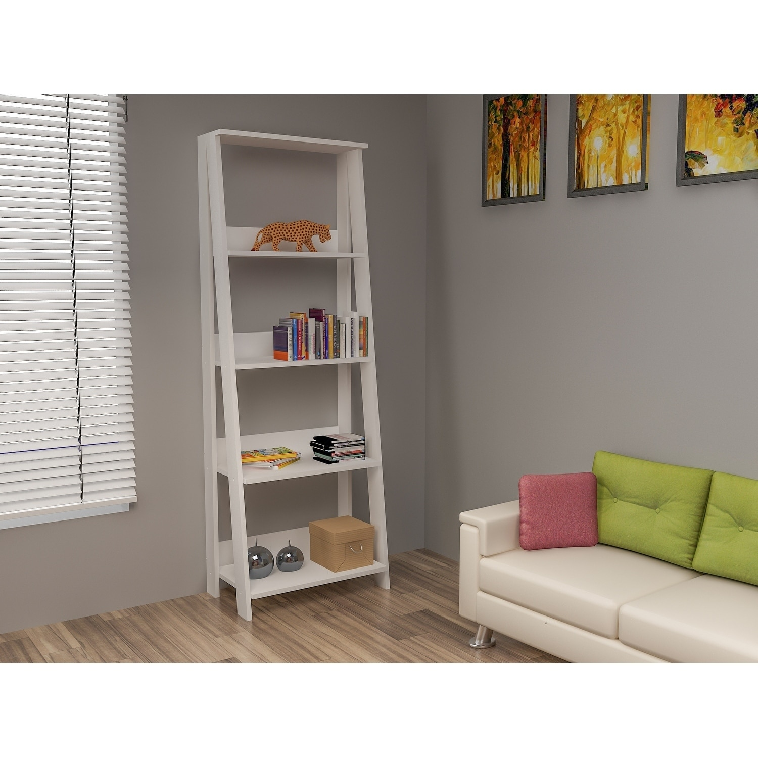 Decorotika Setre 71 4 Tier Floating Leaning Bookcase 23 Inch Wide