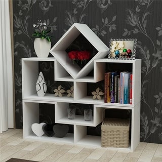 """Decorotika Cubes 30"""" Accent Bookcase with 6 Asymetrical and Multi-shaped Shelves"""
