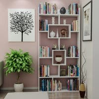 "Decorotika Kayra 71"" Accent Bookcase with Asymetrical 11 Shelves"