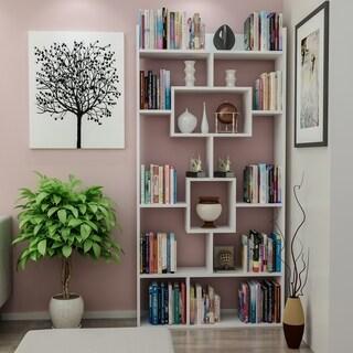 "Decorotika Kayra 71"" Accent Bookcase with Asymetrical 11 Shelves"