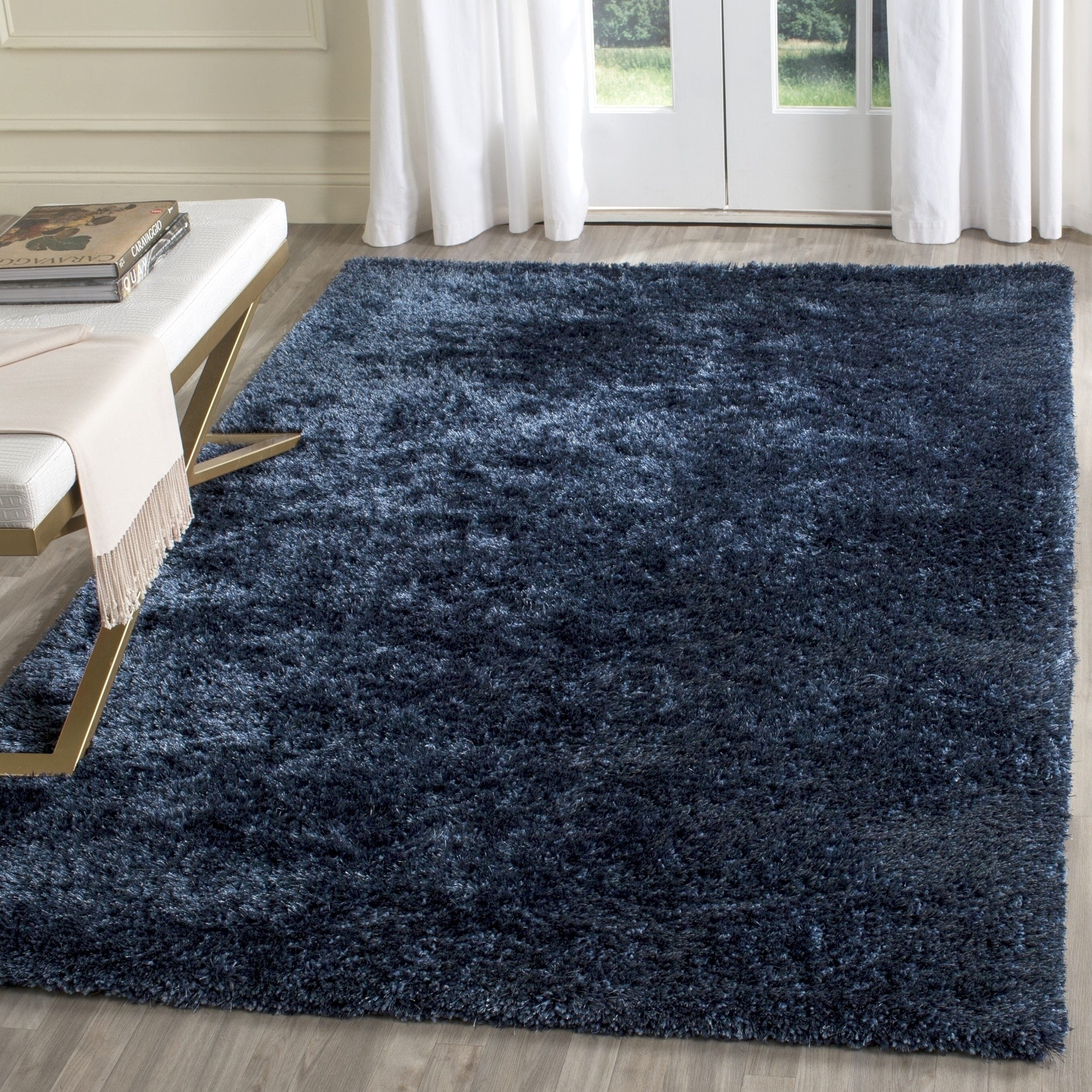 Hand Tufted Navy Polyester Area Rug