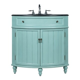 "24"" Benton Collection Thomasville Blue Corner Bathroom Sink Vanity"