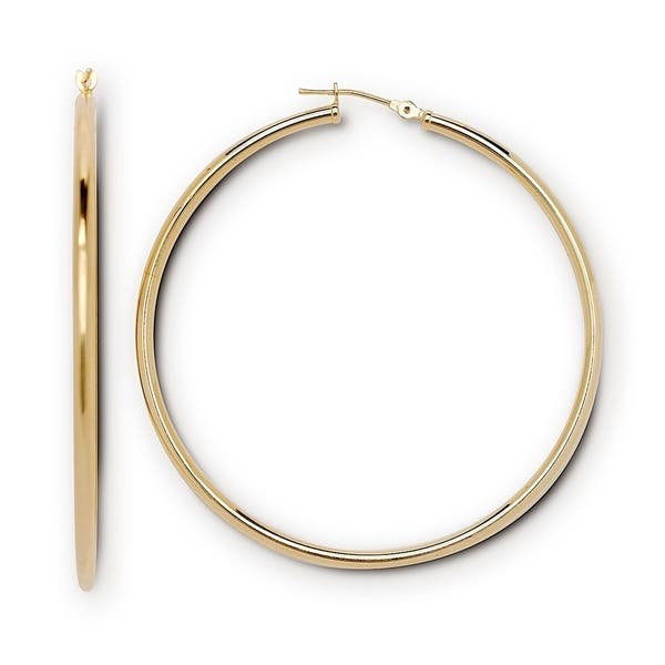 Curata Solid 14k Yellow Or White Gold 50mm 2 Seamless Polished Large Clic Notch Hoop Earrings
