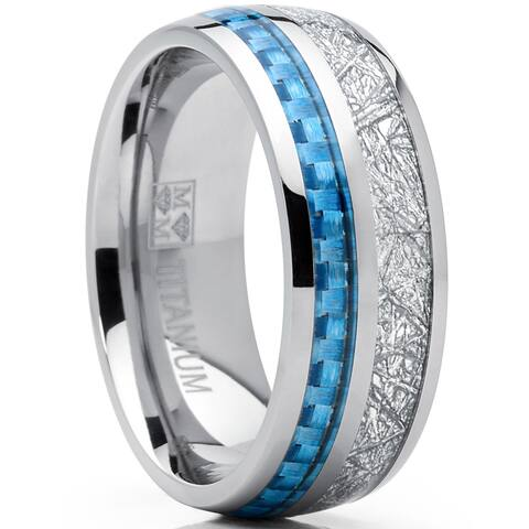 Oliveti Men's Titanium Wedding Band Ring with Carbon Fiber and Imitated Meteorite Inlay, Comfort Fit 8mm