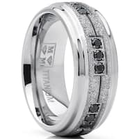 Oliveti Men's Shimmer Finish Titanium Wedding Band Ring with Black Cubic Zirconia 8mm Comfort Fit