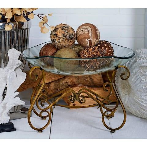 Gracewood Hollow Haunani Elegant Decorative Glass Bowl with Metal Stand