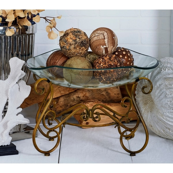 Gracewood Hollow Haunani Elegant Decorative Glass Bowl with Metal Stand. Opens flyout.