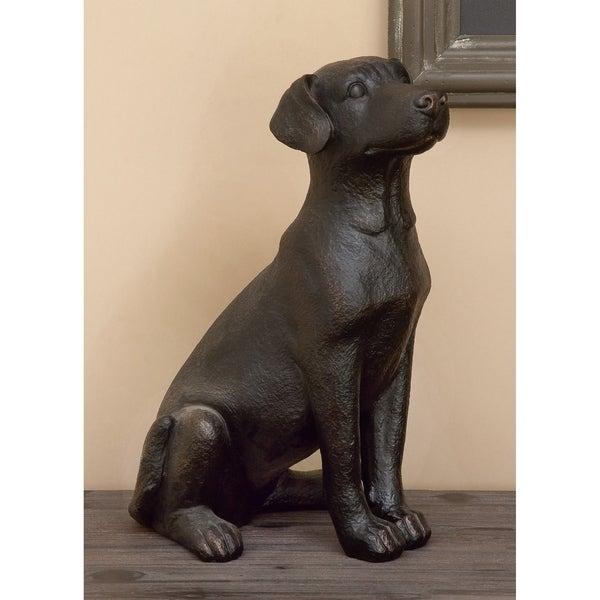 Copper Grove Chatfield Brown Resin Retriever Dog Sitting Sculpture
