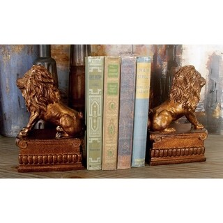 Gracewood Hollow Baldwin Polystone Lion Bookend Pair Unique Table And Shelf Decor