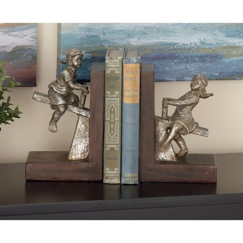 Copper Grove Chatfield Polystone Boy/Girl Bookend Pair