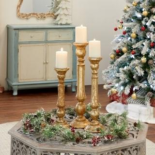 Gracewood Hollow Abbott Golden Iron/Wood Candle Holder (Set of 3)