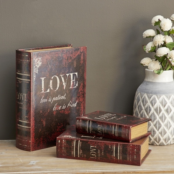Gracewood Hollow Teters Brown MDF/Faux-leather Book Boxes