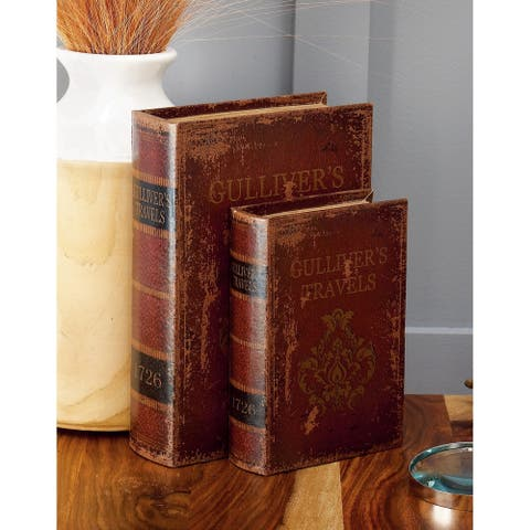 Porch & Den Grossen Red/Tan/Black MDF Wood and Leather Book Boxes (Set of 3)