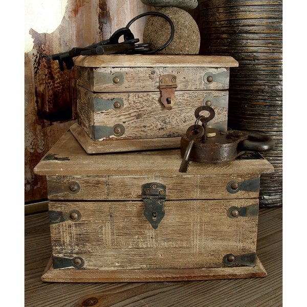 The Curated Nomad Palos Reclaimed Wood 5-inch/8-inch/11-inch Decorative Boxes (Set of 3). Opens flyout.
