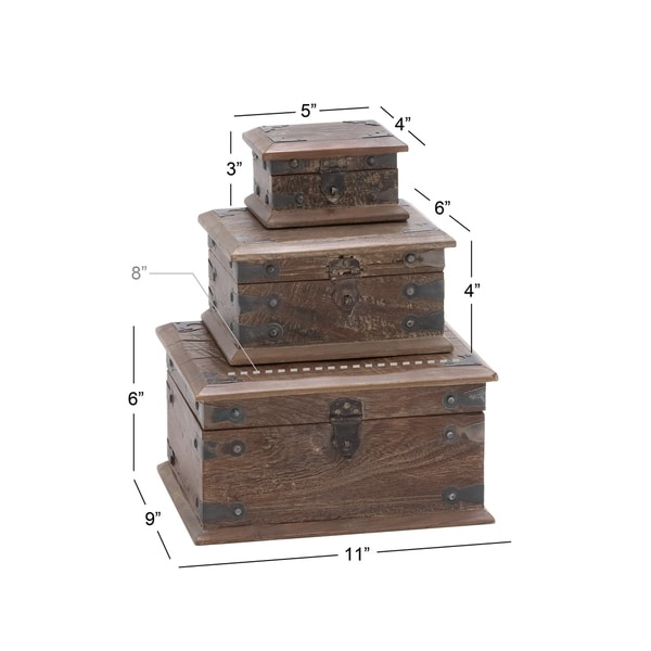 The Curated Nomad Palos Reclaimed Wood 5-inch/8-inch/11-inch Decorative Boxes (Set of 3)