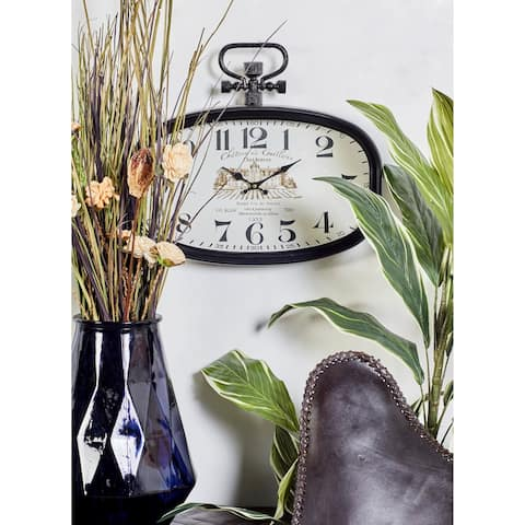 Copper Grove Chatfield Black Iron Oval Wall Clock with White Face