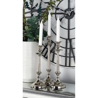 Gracewood Hollow Twiss Traditional Aluminum Silver Tapered Candle Holders (Set of 3)