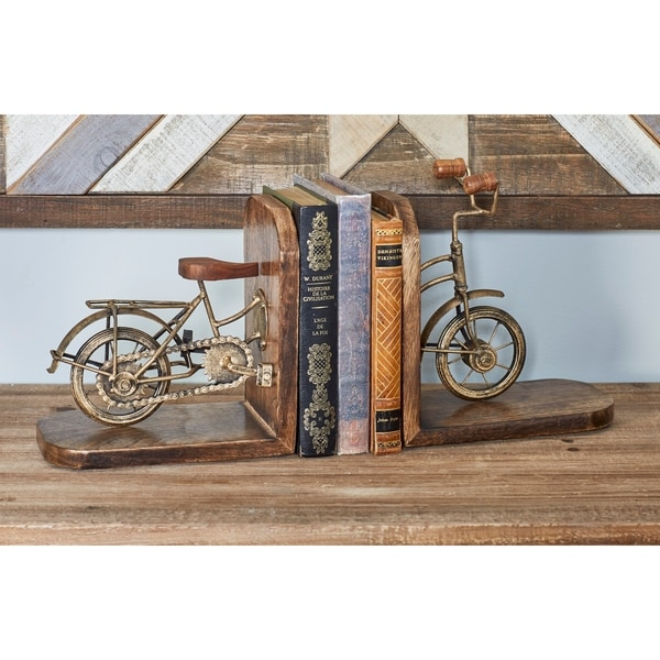 Copper Grove Chatfield Pair of Rustic Mango Wood and Iron Split Bicycle Bookends