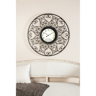 Link to Copper Grove Bleasdell Rustic 33 x 33 Inch Black and Beige Metal Wall Clock Similar Items in Decorative Accessories