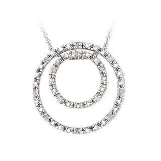 DB Designs Sterling Silver 1/8ct Diamond Two Circle Necklace