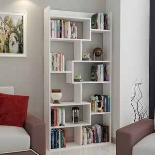 Decorotika Dream White 71-inch Accent Bookcase with 10 Asymetrical Shelves