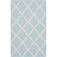 Safavieh Hand-woven Moroccan Reversible Dhurries Light Blue/ Ivory Wool Rug - 2'6 x 4'