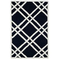 Safavieh Handmade Moroccan Cambridge Black/ Ivory Wool Rug - 2' x 3'