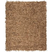 Safavieh Hand-Knotted Leather Shag Light Gold Leather Rug (8' x 10')