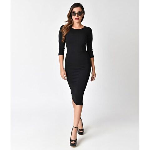 Unique Vintage Black Long Sleeve Mod Wiggle Dress