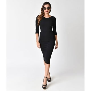 Unique Vintage Black Long Sleeve Mod Wiggle Dress