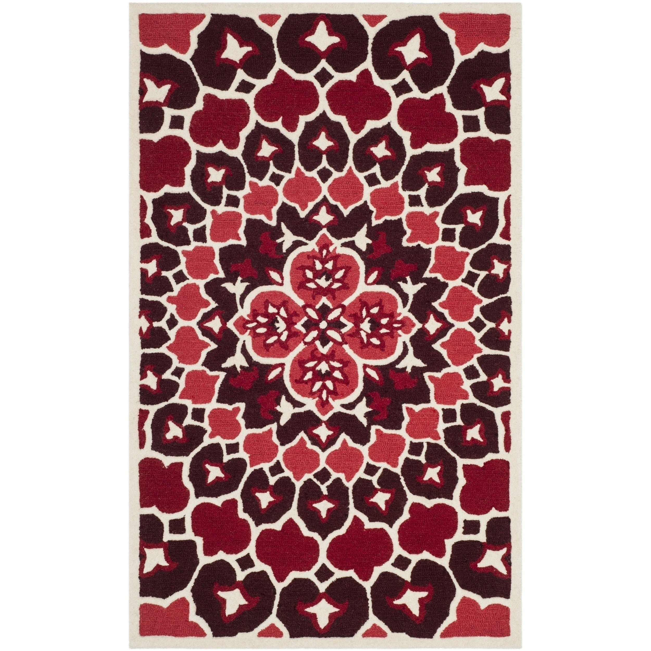 Safavieh Bellagio Contemporary Geometric Hand Tufted Wool Red Ivory Area Rug 2 X 3 Overstock 21078662