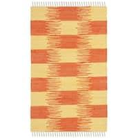 Safavieh Montauk HandWoven Cotton Transitional Geometric Yellow/ Orange Area Rug - 2'6 x 4'