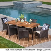 Tustin Outdoor 7 Piece Acacia Wood/ Wicker Dining Set by Christopher Knight Home