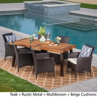 Tustin Outdoor 7 Piece Acacia Wood Wicker Dining Set By Christopher Knight Home