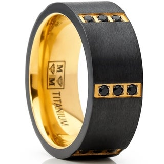 Oliveti Men's Black Zirconium Wedding Band with Goldtone Plating Black Cubic Zirconia, Comfort Fit 8mm
